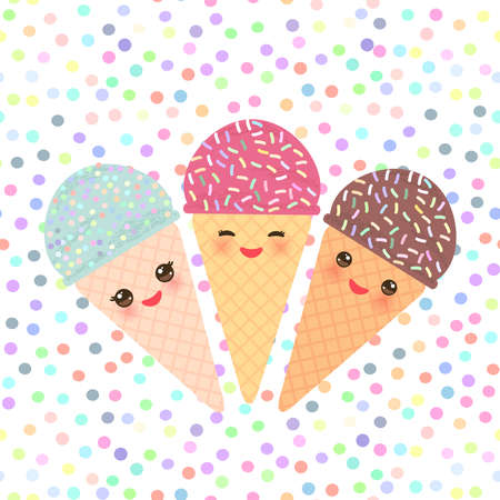 Card design with three Kawaii mint raspberry chocolate Ice cream waffle cone funny muzzle with pink cheeks and winking eyes, pastel colors polka dot background. Vector illustration Illustration