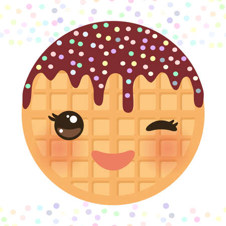 Kawaii Belgium round waffles with pink cheeks and winking eyes, pastel colors on white background. Vector illustration Illustration