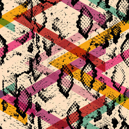 Snake skin texture seamless pattern. black magenta orange pink purple blue print, Geo ethnic modern trendy Geometric abstract background fashion creative art print for design site blog fabric. Vector illustration  イラスト・ベクター素材