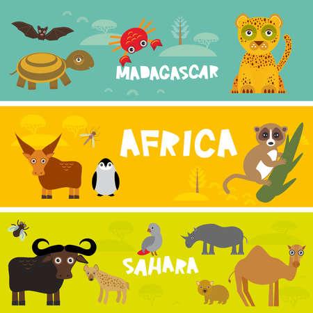 Cute animals set, leopard turtle crab penguin lemur bull hippo hyena parrot tsetse fly crab camel kids background African animals, Africa, Madagascar, Sahara Desert bright colorful banner. Vector illustration Illustration