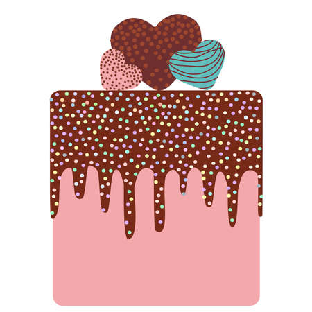 I love you Card design - Birthday, valentines day, wedding, engagement. Sweet cake, strawberry pink cream chocolate icing sprinkles, cake pops heart, pastel colors on white background. Vector illustration