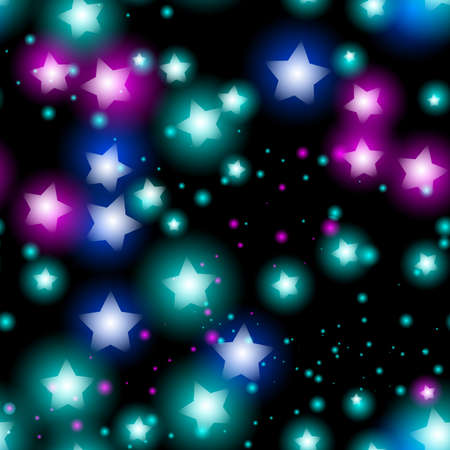 Abstract starry seamless pattern with neon star on black background. Galaxy Night sky with stars. Vector illustration