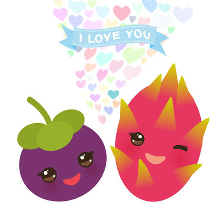 I love you Card design with Kawaii mangosteen and dragon fruit with pink cheeks and winking eyes, pastel colors on white background. Vector illustration