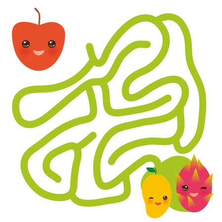 mango apple dragon fruit kawaii funny fruits, pastel colors on white background. labyrinth game for Preschool Children. Vector illustration Illustration