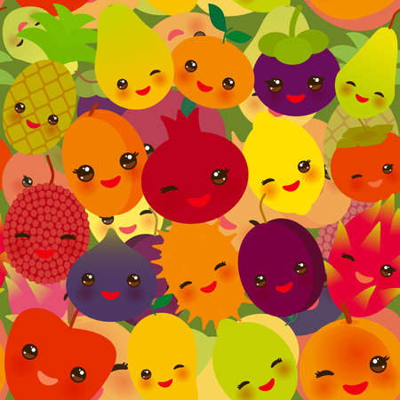 seamless pattern funny kawaii fruit Pear Mangosteen tangerine pineapple papaya persimmon pomegranate lime apricot plum dragon fruit figs mango peach lemon lychee apple kiwano. Vector illustration