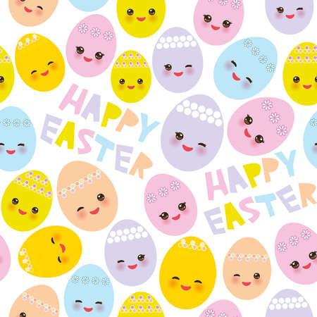 Happy Easter seamless pattern. Kawaii colorful blue green orange pink yellow egg with pink cheeks and winking eyes, pastel colors on white background. Vector illustration