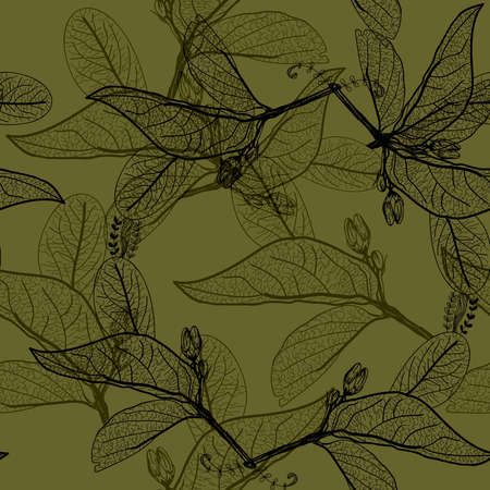 Leaves black contours on dark olive dark khaki green background. floral seamless pattern, hand-drawn. Background for your site or blog. Vector illustration Vektorové ilustrace