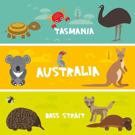 platypus: Cute animals set, Echidna koala Platypus ostrich Emu Cockatoo parrot turtle kangaroo dingo crab kids background Australia, Tasmania Bass strait Australian animals bright colorful banner. Vector illustration Illustration