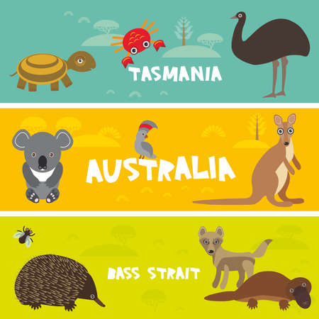 Cute animals set, Echidna koala Platypus ostrich Emu Cockatoo parrot turtle kangaroo dingo crab kids background Australia, Tasmania Bass strait Australian animals bright colorful banner. Vector illustration Illustration