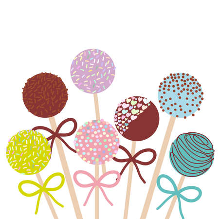 Colorful Sweet Cake pops set with bow isolated on white background. Vector illustration Çizim