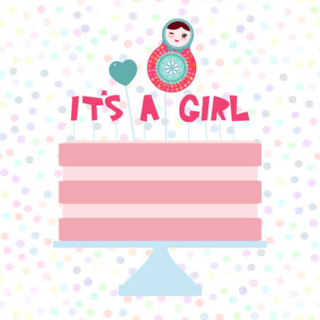 Its a girl. Sweet pink cake, strawberry pink cream, matryoshka, heart. Baby shower banner design, card template, pastel colors on white polka dot background. Vector illustration