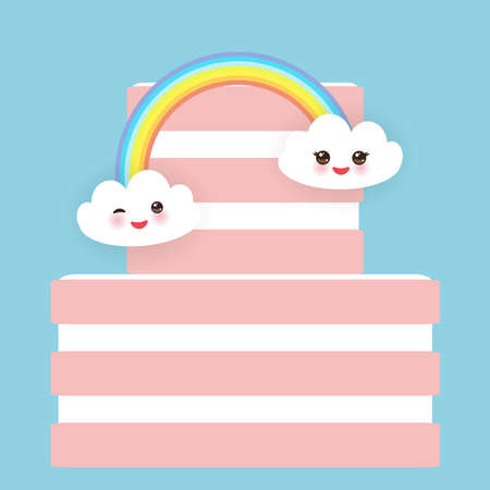 Kawaii Happy Birthday Sweet strawberry pink cake, white cream, clouds, rainbow, banner design, card template, pastel colors on sky blue polka dot background. Vector illustration Illustration