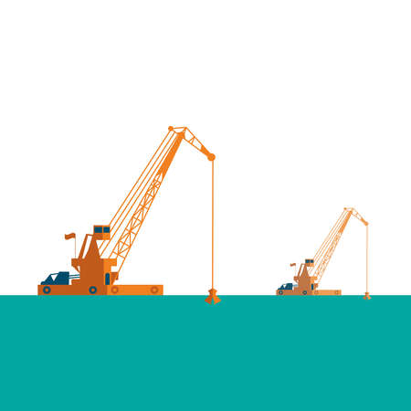Huge crane barge Industrial ship that digs sand marine dredging digging sea bottom. light sea green, pastel colors on white background. Vector illustration
