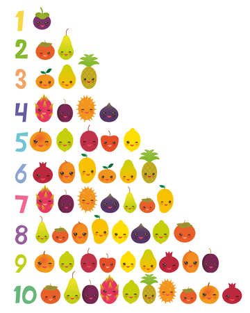 Printable flash card for numbers for preschool kindergarten kids kawaii fruit Pear Mangosteen tangerine pineapple papaya persimmon pomegranate dragon fruit figs mango lemon lychee apple kiwano. Vector illustration