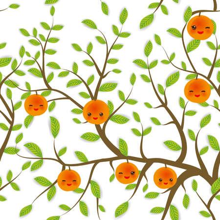 naadloze patroon Bruine takken met groene bladeren, perzik abrikoos vruchten Kawaii grappige snuit met roze wangen en knipogende ogen, pastel kleuren op een witte achtergrond. Vector illustratie