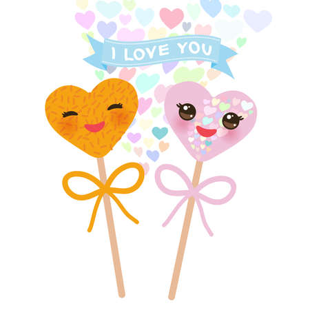 I love you Card design with hearts Kawaii Colorful Sweet Cake pops with pink cheeks and winking eyes, pastel colors on white background. Vector illustration Illustration