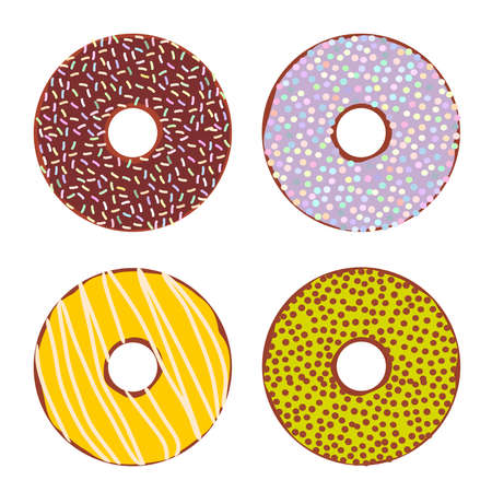 Sweet donuts set with icing and sprinkls isolated, pastel colors on white background. Vector illustration