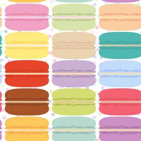 macaroon set, seamless pattern pastel colors white polka dot background. Vector illustration