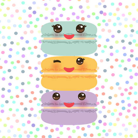 Kawaii macaroon funny orange blue lilac cookie with pink cheeks with pink cheeks and big eyes, pastel colors on white polka dot background. Vector illustration