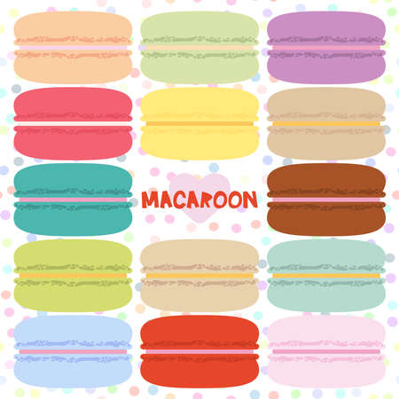 macaron: Square card design with macaroon set, pastel colors white polka dot background. Vector illustration
