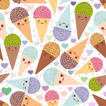 Seamless pattern funny Ice cream waffle cone, muzzle with pink cheeks and winking eyes, pastel colors on white background. Vector illustration