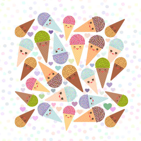 Card design square with Kawaii mint kiwi raspberry blueberry chocolate Ice cream waffle cone funny muzzle with pink cheeks and winking eyes, pastel colors polka dot background. Vector illustration Illustration