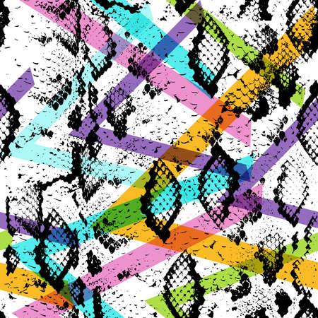Snake skin texture seamless pattern. black magenta orange lilac pink purple blue beige print, Geo ethnic hipster backdrop modern trendy  Geometric abstract background for site, blog, fabric. Vector illustration