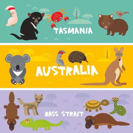 Cute animals set, Echidna koala Platypus Tasmanian devil Cockatoo parrot Wombat snake crab turtle kangaroo dingo kids background Australia, Tasmania Australian animals bright colorful banner. Vector illustration