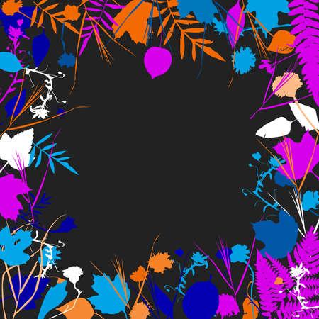 tree marigold: floral square frame wreath of flowers, natural design leaves flowers elements. Spring summer design for invitation, wedding greeting cards. blue pink orange white silhouette, Black background. Vector illustration Illustration