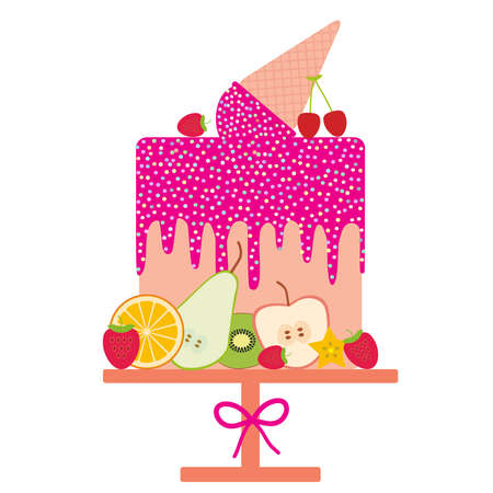 Card design - Birthday, valentines day, wedding, engagement. Sweet cake, pink Ice cream waffle cone, pink icing sprinkles, fruit, pastel colors on white background. Vector illustration Illustration