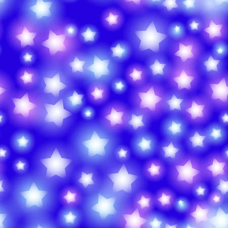 Abstract starry seamless pattern with neon star on bright pink and lilac, blue background. Galaxy Night sky with stars. Vector illustration
