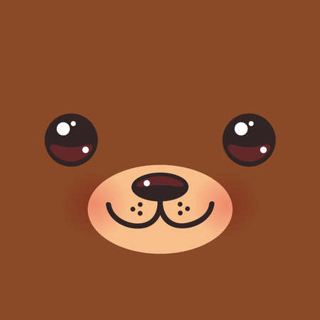 Cute Cartoon funny brown bear muzzle with pink cheeks and big eyes. Vector illustration