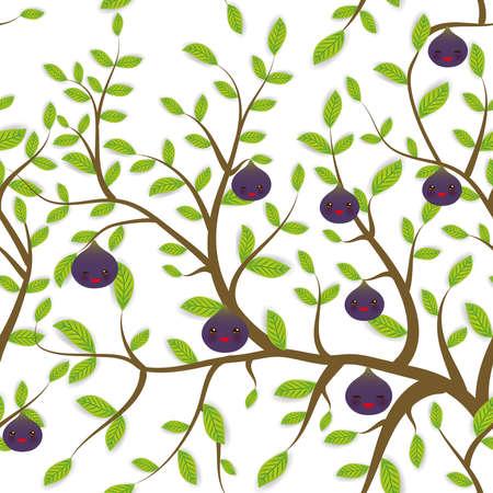 원활한 패턴 녹색 잎, 무화과 과일 나뭇 가지 핑크 뺨과 윙크 눈, 흰색 배경에 파스텔 색상 재미 총구. 벡터 일러스트 레이 션 일러스트