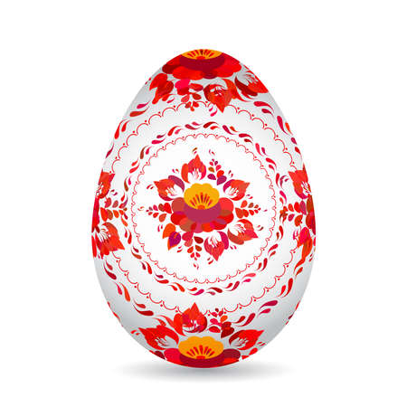 Easter egg with red orange folk flowers Isolated on white background. Vector illustration