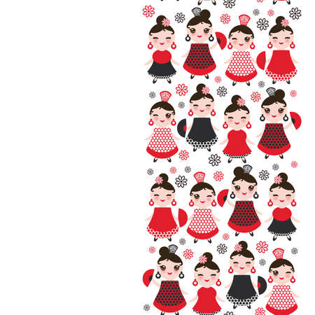 spanish Woman flamenco dancer. cute face with pink cheeks and winking eyes. Gipsy girl, red black dress, polka dot fabric, on white background banner template, card design. Vector illustration