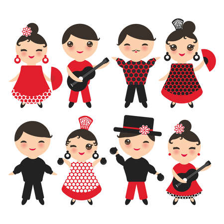 Spanish flamenco dancer. cute face with pink cheeks and winking eyes. Gipsy girl and boy, red black white dress, polka dot fabric, Isolated on white background. Vector illustration