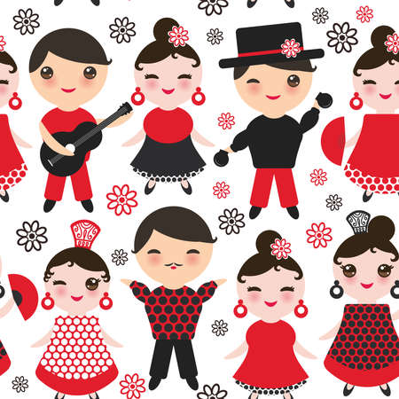 Seamless pattern Spanish flamenco dancer. cute face with pink cheeks and winking eyes. Gipsy girl and boy, red black white dress, polka dot fabric, Isolated on white background. Vector illustration