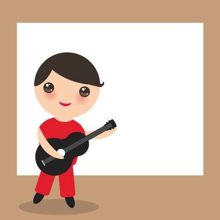 Spanish flamenco guitar player card design, banner template.  cute face with pink cheeks boy, red black white brown background. Vector illustration