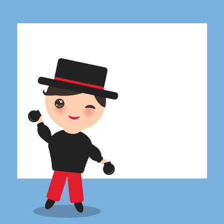 Spanish flamenco dancer card design, banner template.  cute face with pink cheeks winking eyes. boy with castanets, hat. red black white blue background. Vector illustration