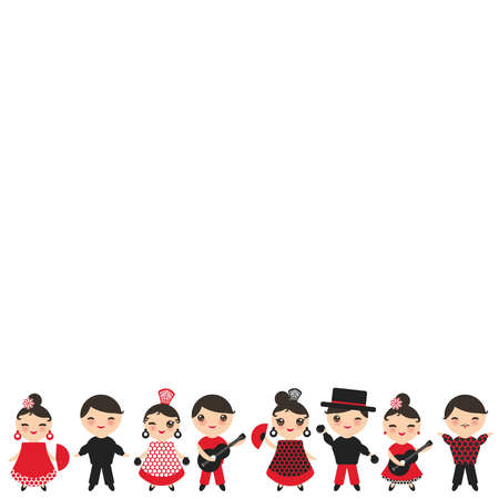 Spanish flamenco dancer card design, banner template. cute face with pink cheeks winking eyes. Gipsy girl and boy, red black white dress, polka dot fabric, Isolated on white background. Vector illustration Vectores