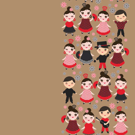 spanish Woman flamenco dancer. cute face with pink cheeks and winking eyes. Gipsy girl, red black dress, polka dot fabric, on light brown background banner template, card design. Vector illustration