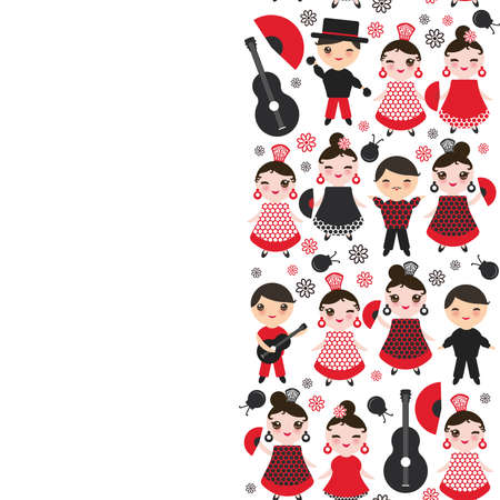 spanish Woman flamenco dancer. Kawaii cute face with pink cheeks and winking eyes. Gipsy girl, red black dress, polka dot fabric, on white background banner template, card design. Vector illustration  イラスト・ベクター素材