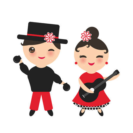 Spanish flamenco dancer set. Kawaii cute face with pink cheeks and winking eyes. Gipsy girl with guitar and boy with castanets, red black white dress, Isolated on white background. Vector illustration