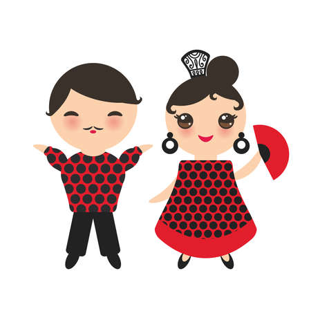 Spanish flamenco dancer set. Kawaii cute face with pink cheeks and winking eyes. Gipsy girl with fan and boy, red black white dress, polka dot fabric, Isolated on white background. Vector illustration