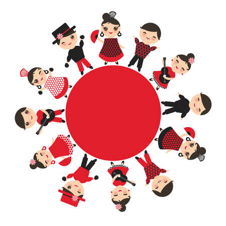 Spanish flamenco dancer card design, round banner template. Kawaii cute face pink cheeks winking eyes. Gipsy girl and boy, red black white dress, polka dot fabric, Isolated on white background. Vector illustration