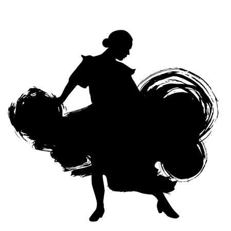 Vrouw in lang jurk verblijf in dansen pose. flamencodanseres Spaanse regio's van Andalusië, Extremadura Murcia. zwart silhouet geïsoleerd op witte achtergrond borstel schets schets. Vector illustratie Stock Illustratie