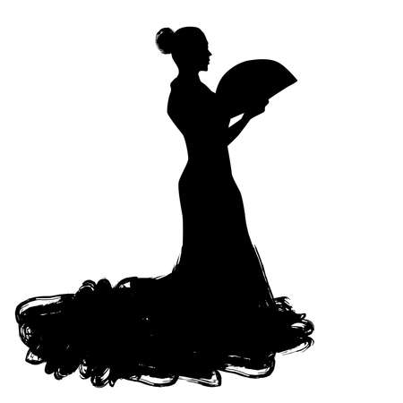 Woman with fan in long dress stay in dancing pose. flamenco dancer Spanish regions of Andalusia, Extremadura Murcia. black silhouette Isolated on white background brush outline sketch. Vector illustration