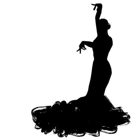 긴 드레스에 여자 포즈를 춤에 머물러 있습니다. 플라멩고 댄서 스페인 지역, 안달루시아, Extremadura Murcia. 검은 실루엣 흰색 배경에 격리 됨 브러쉬 개 일러스트