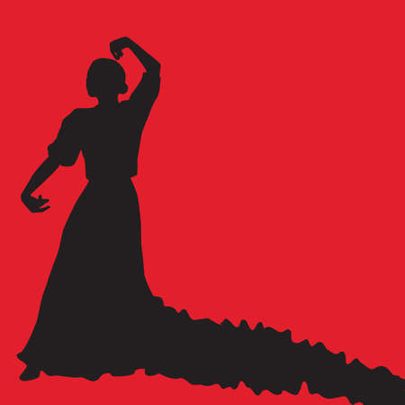 Woman in long dress stay in dancing pose. Flamenco  black silhouette Isolated on red background. Vector illustration