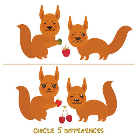 circle 5 differences Educational Game for Preschool Children Picture puzzle: Find the five differences between the two pictures Funny squirrel with raspberry cherry berries on white background. Vector illustration Vectores